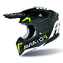 Airoh Hjälm Aviator 3 Primal Carbon 3K gul matt