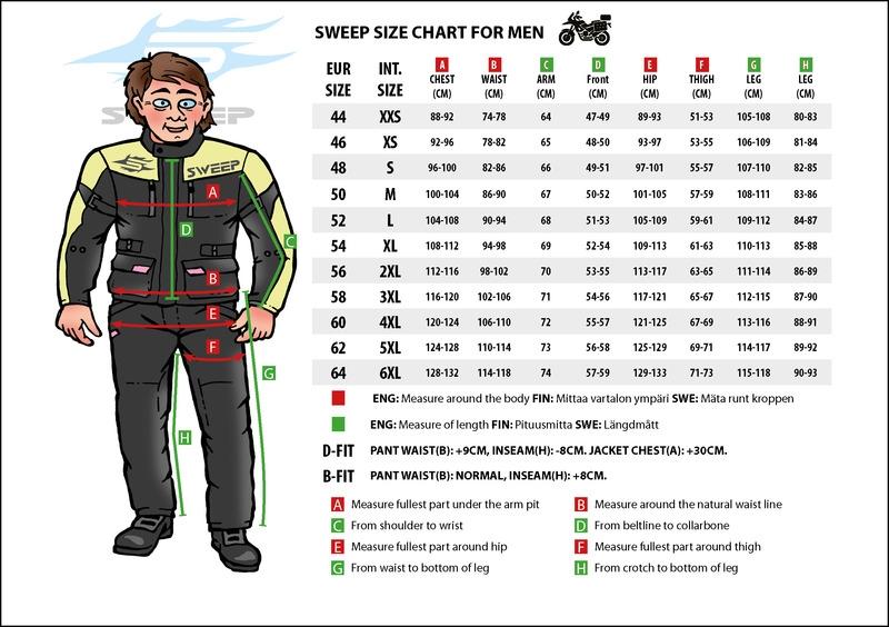 Bildresultat för sweep motorcycle gear size guide